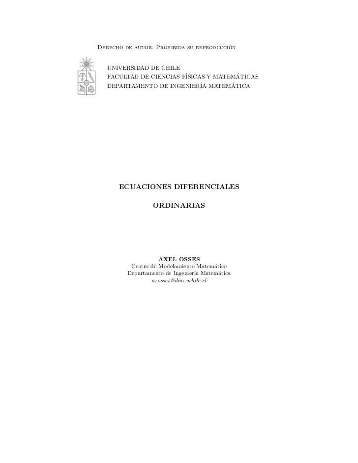 ´Derecho de autor. Prohibida su reproduccion   UNIVERSIDAD DE CHILE   FACULTAD DE CIENCIAS F´              ´              ...