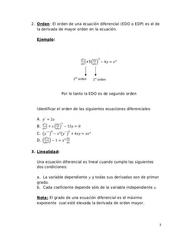3 2do orden 1er orden 2. Orden: El orden de una ecuación diferencial (EDO o EDP) es el de la derivada de mayor orden en la...