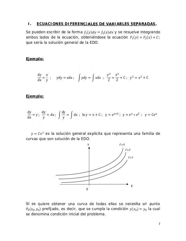 7 I. ECUACIONES DIFERENCIALES DE VARIABLES SEPARADAS. Se pueden escribir de la forma ( ) = ( ) y se resuelve integrando am...