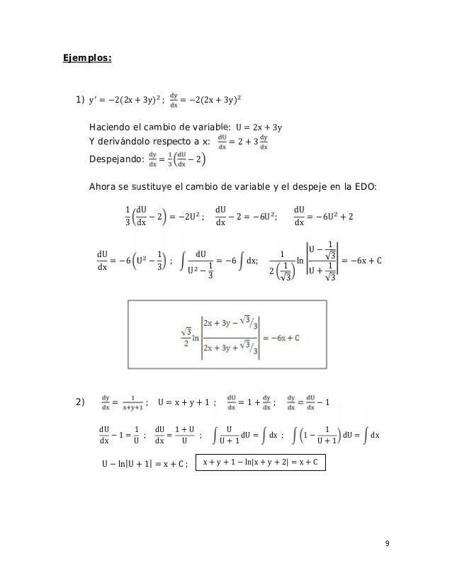 9 Ejemplos: 1) y = −2(2x + 3y) ; = −2(2x + 3y) Haciendo el cambio de variable: U = 2x + 3y Y derivándolo respecto a x: = 2...