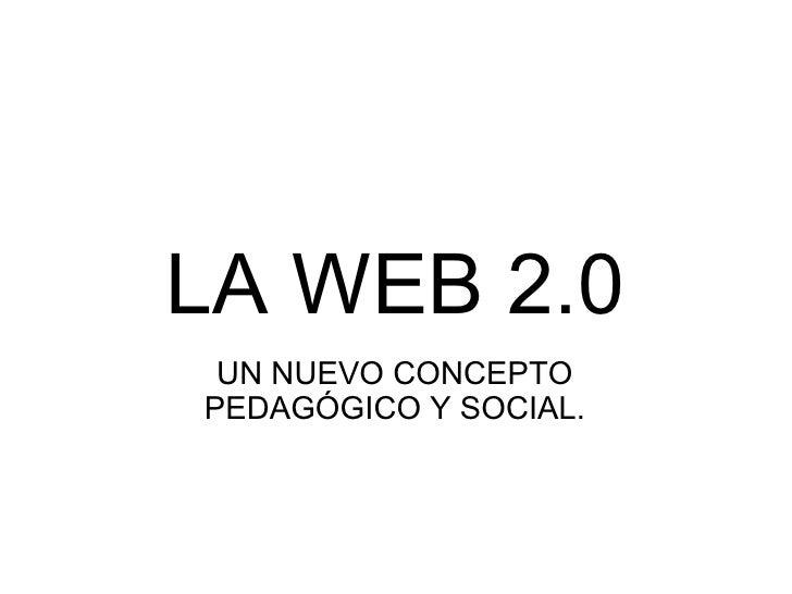 LA WEB 2.0 UN NUEVO CONCEPTO PEDAGÓGICO Y SOCIAL.