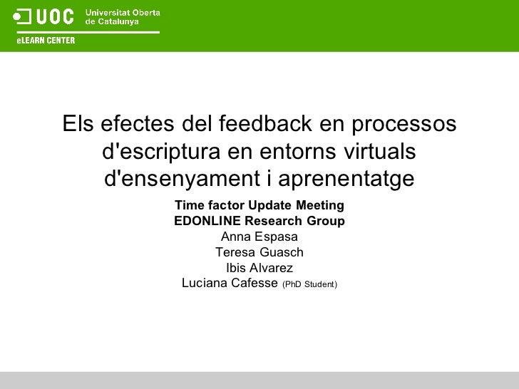 Els efectes del feedback en processos d'escriptura en entorns virtuals d'ensenyament i aprenentatge Time factor Update Mee...