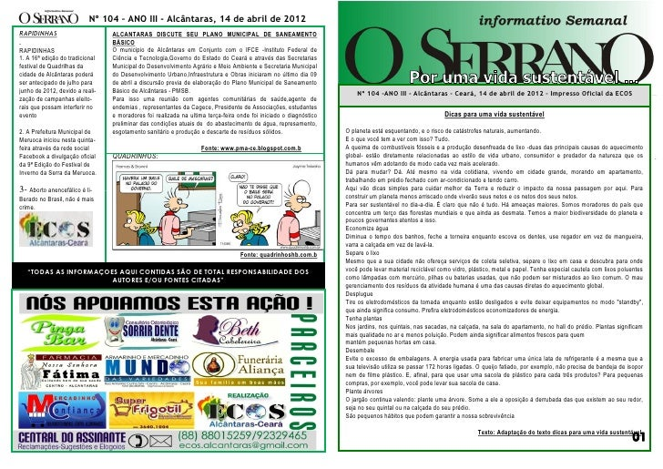 Nº 104 – ANO III - Alcântaras, 14 de abril de 2012RAPIDINHAS                       ALCANTARAS DISCUTE SEU PLANO MUNICIPAL ...