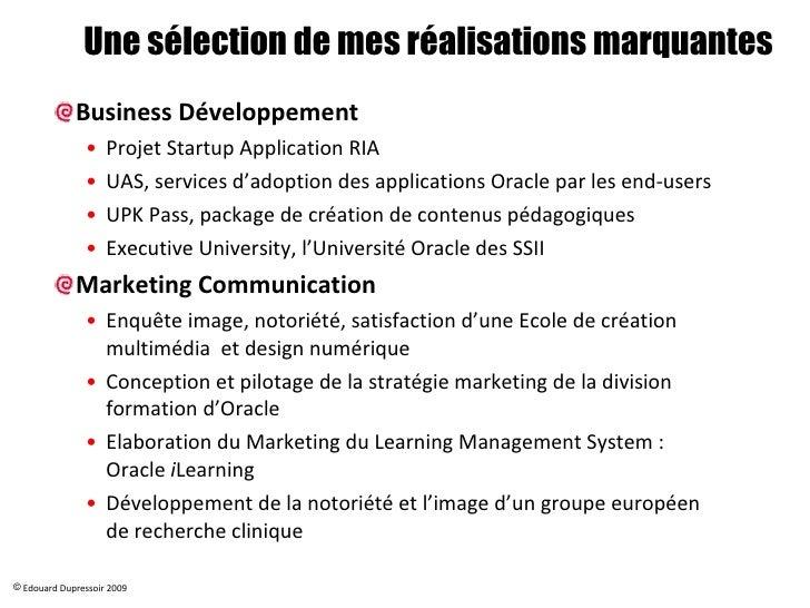 Edouard Realisations Business Developpement & Marketing Slide 3