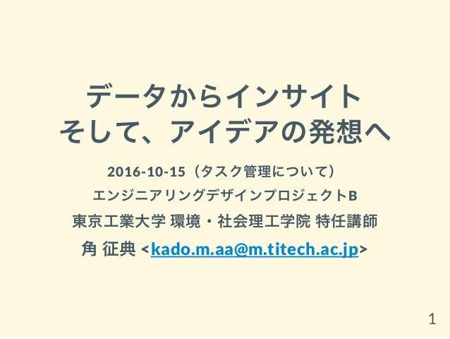 データからインサイト そして、アイデアの発想へ 2016-10-15(タスク管理について) エンジニアリングデザインプロジェクトB 東京工業大学環境・社会理工学院特任講師 角征典<kado.m.aa@m.titech.ac.jp> 1
