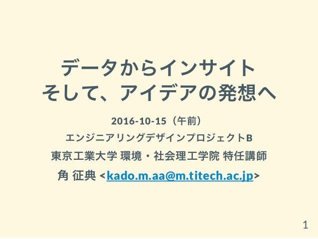 データからインサイト そして、アイデアの発想へ 2016-10-15(午前) エンジニアリングデザインプロジェクトB 東京工業大学環境・社会理工学院特任講師 角征典<kado.m.aa@m.titech.ac.jp> 1