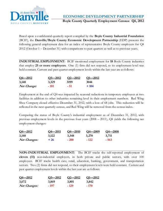 ECONOMIC DEVELOPMENT PARTNERSHIP                                  Boyle County Quarterly Employment Census: Q4, 2012Based ...