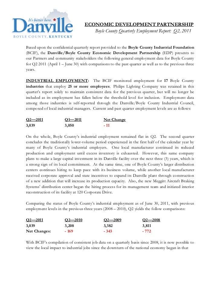 ECONOMIC DEVELOPMENT PARTNERSHIP                                       Boyle County Quarterly Employment Report: Q2, 2011B...