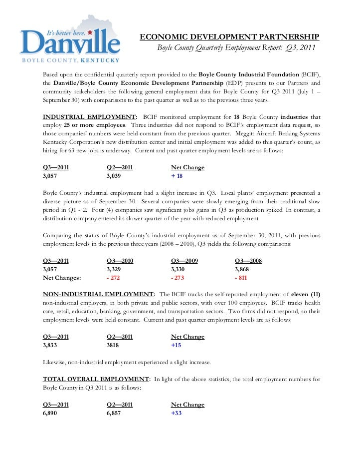 Boyle County, Kentucky Employment Report: Q3, 2011
