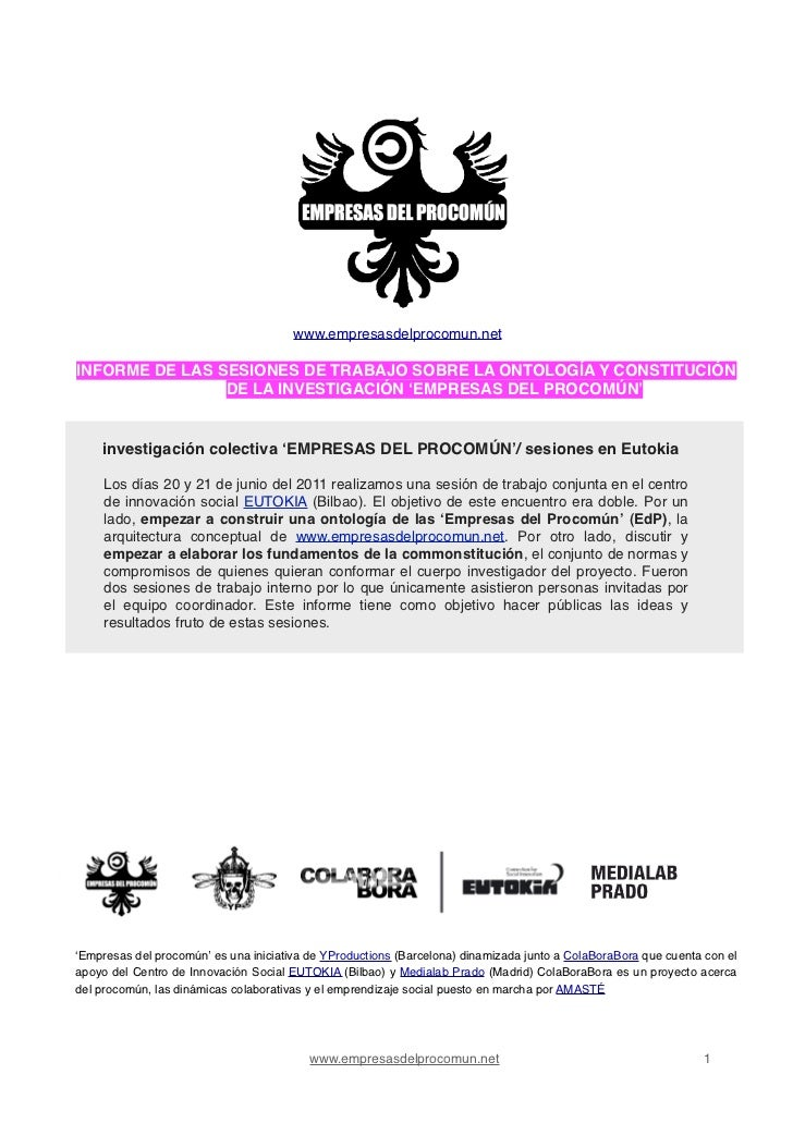 !       !!       !                                       www.empresasdelprocomun.netINFORME DE LAS SESIONES DE TRABAJO SOB...