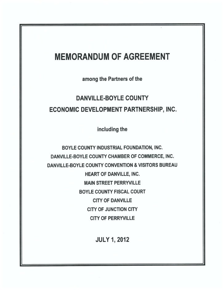 Danville/Boyle County Economic Development Partnership: 2012 2015 Memorandum  Of Agreement ...