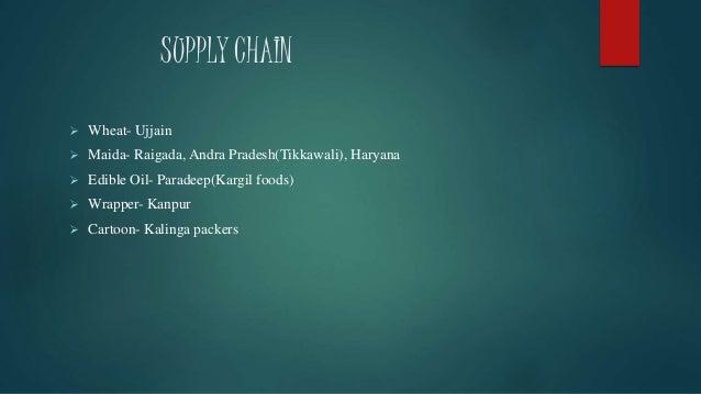 SUPPLY CHAIN  Wheat- Ujjain  Maida- Raigada, Andra Pradesh(Tikkawali), Haryana  Edible Oil- Paradeep(Kargil foods)  Wr...