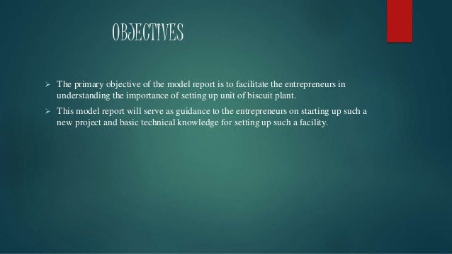 OBJECTIVES  The primary objective of the model report is to facilitate the entrepreneurs in understanding the importance ...