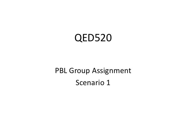 QED520 <br />PBL Group Assignment<br />Scenario 1<br />