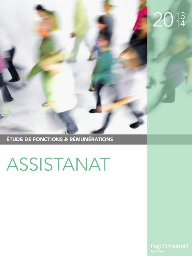 2013 14 ÉTUDE DE FONCTIONS & RÉMUNÉRATIONS ASSISTANAT Assistanat