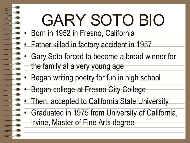 gary soto looking for work essay Part 1: summary looking for work by gary soto is a narration of a nine year old boy, gary, who is a mexican-american who wants to become wealthy.