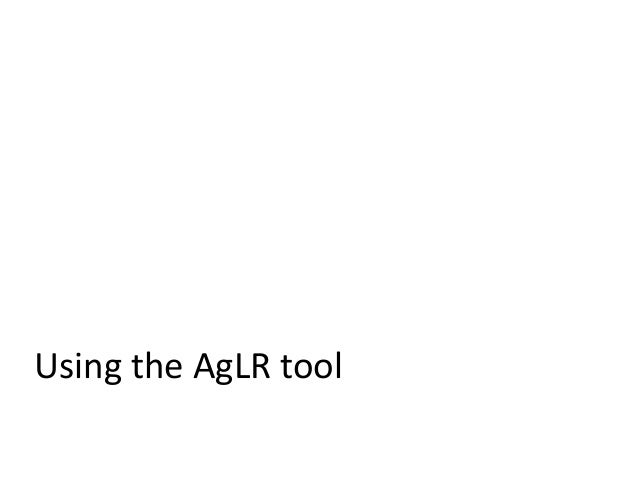 Using the AgLR tool