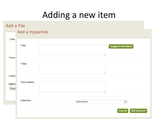 Adding a new item