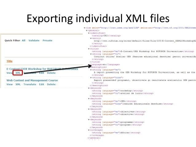 Exporting individual XML files