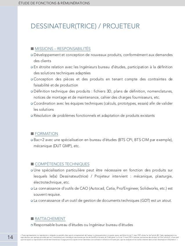 Etude de r mun rations ing nieurs techniciens 2013 2014 for Dessinateur bureau etude