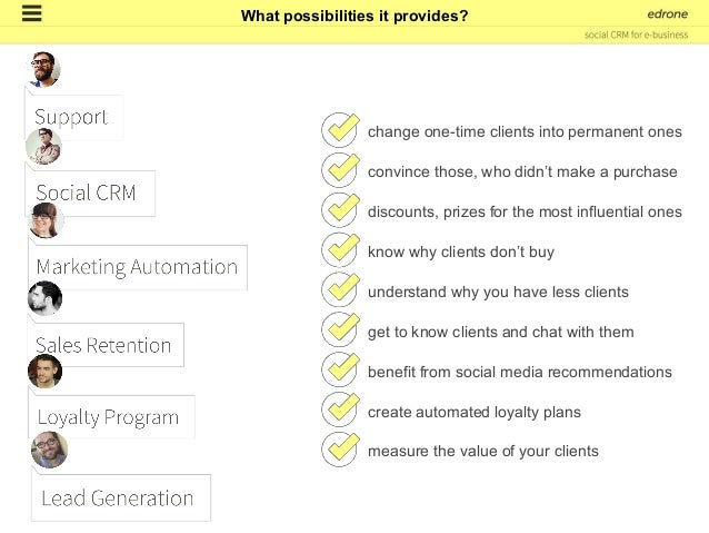edrone is a social CRM that uses public information from social media and marketing automation class tools. Anonymous visi...