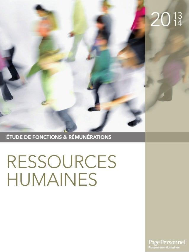 2013 14 ÉTUDE DE FONCTIONS & RÉMUNÉRATIONS Ressources Humaines RESSOURCES HUMAINES