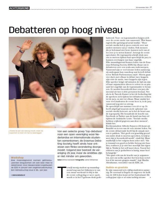Debatteren op hoog niveau - Erasmus Debating Society 25 jaar