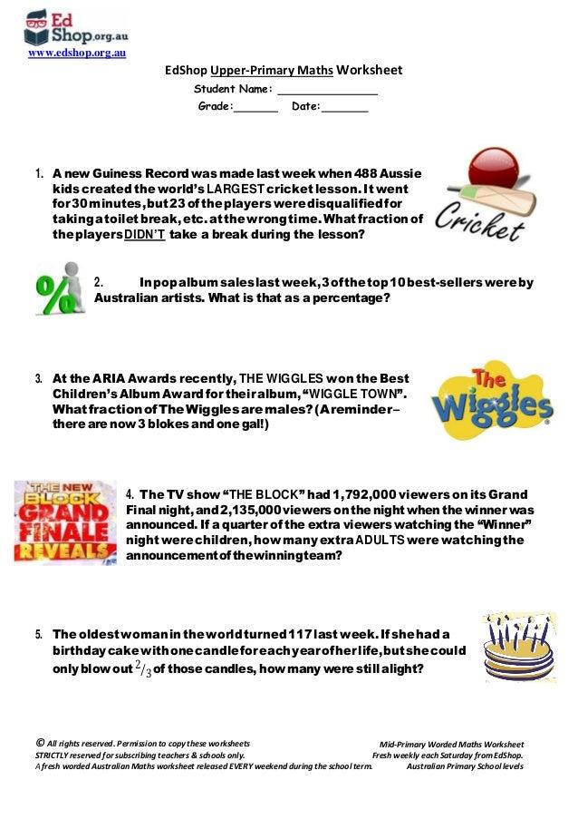 Ed Shop upper‐primary Maths worksheet