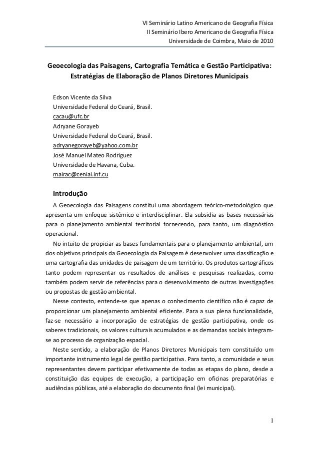 VI Seminário Latino Americano de Geografia Física  II Seminário Ibero Americano de Geografia Física  Universidade de Coimb...