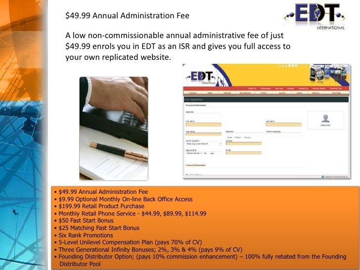 $49.99 Annual Administration Fee<br />A low non-commissionable annual administrative fee of just $49.99 enrols you in EDT ...