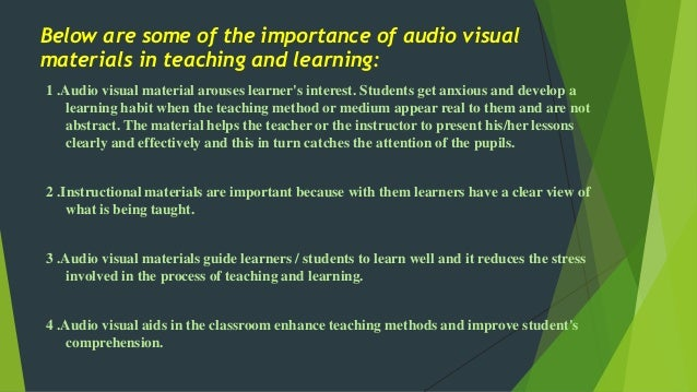 the importance of learning materials in Catherine m broderick research in the use and purposes of instructional materials  with the importance of varied learning materials reflected in.