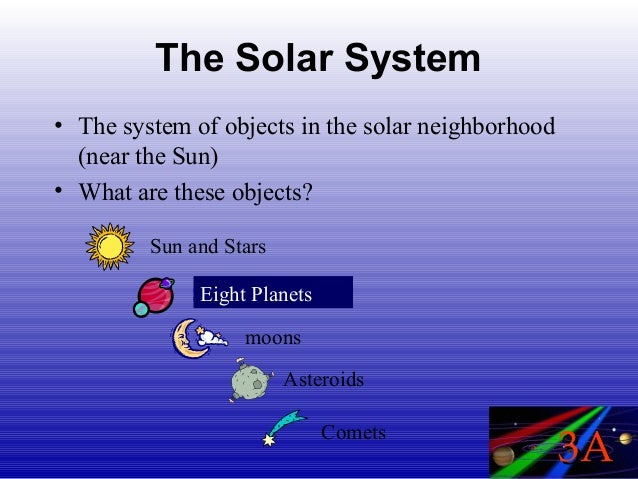 The Solar System• The system of objects in the solar neighborhood  (near the Sun)• What are these objects?         Sun and...