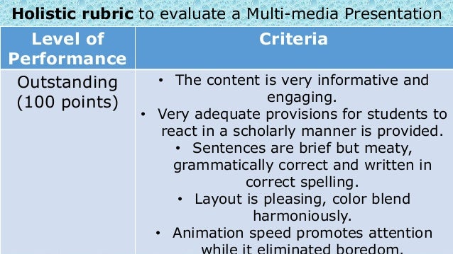 Choosing and preparing for authentic assessment 19 holistic rubric to evaluate a multi media presentation level of performance criteria thecheapjerseys Images