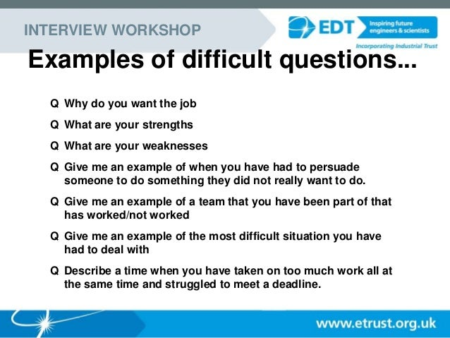 EDT Year In Industry Interviewing Skills Presentation