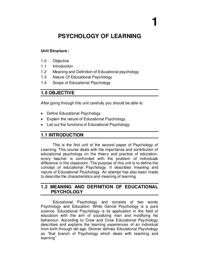 educational psychology definition and scope