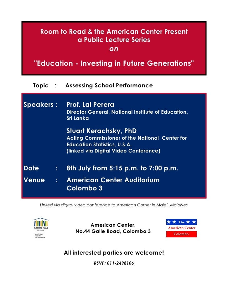 Room to Read & the American Center Present                  a Public Lecture Series                                       ...
