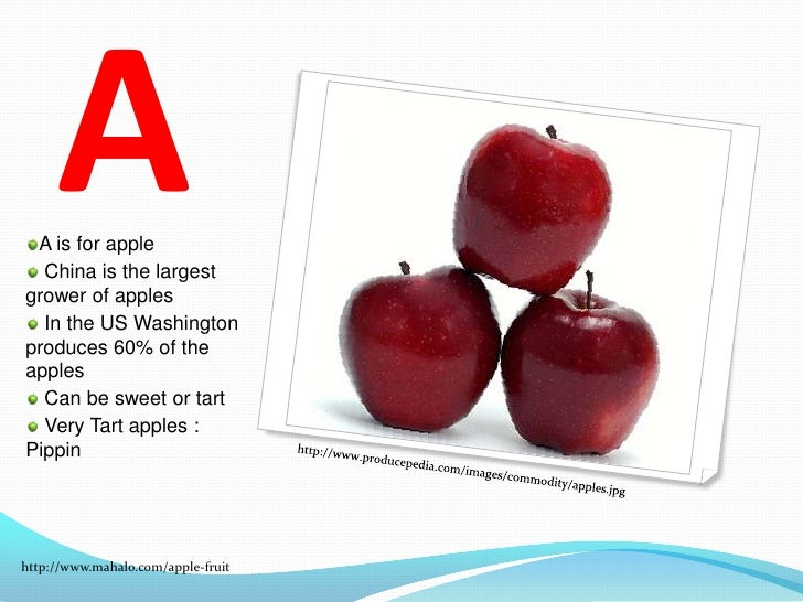 ABC'S of Fruits and Vegetables <br />By: Sarah Patterson <br />EDU 290<br />Central Michigan University <br />