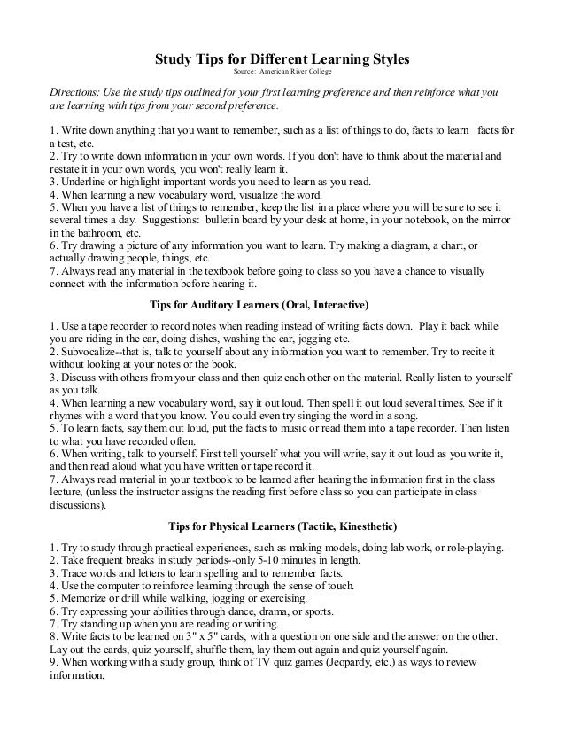 Edu 3033 study tips for different learning styles – Learning Styles Worksheet