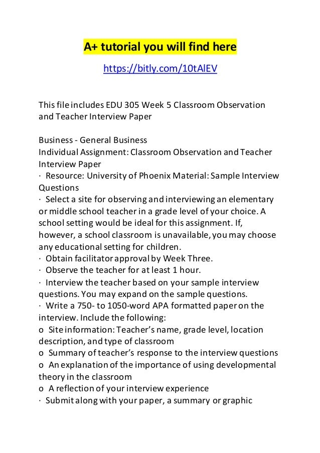 edu week classroom observation and teacher interview paper observation and teacher interview paper a tutorial you will here bitly com 10talev this
