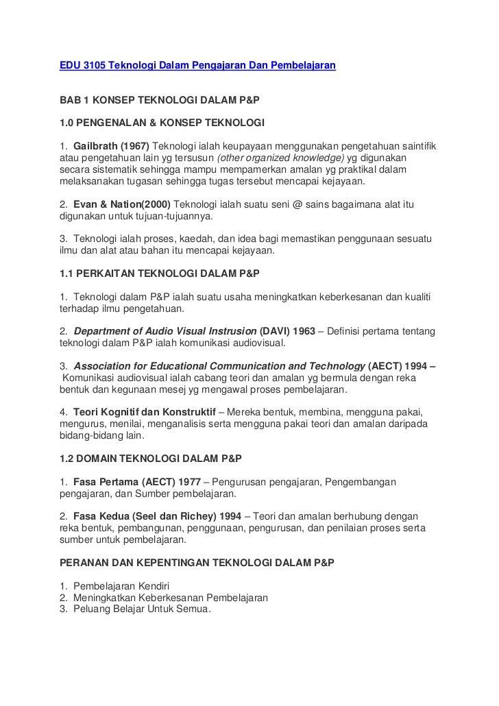 EDU 3105 Teknologi Dalam Pengajaran Dan PembelajaranBAB 1 KONSEP TEKNOLOGI DALAM P&P1.0 PENGENALAN & KONSEP TEKNOLOGI1. Ga...