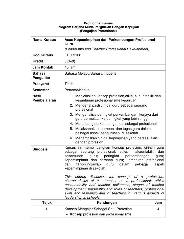 Pro Forma Kursus               Program Sarjana Muda Perguruan Dengan Kepujian                            (Pengajian Profes...
