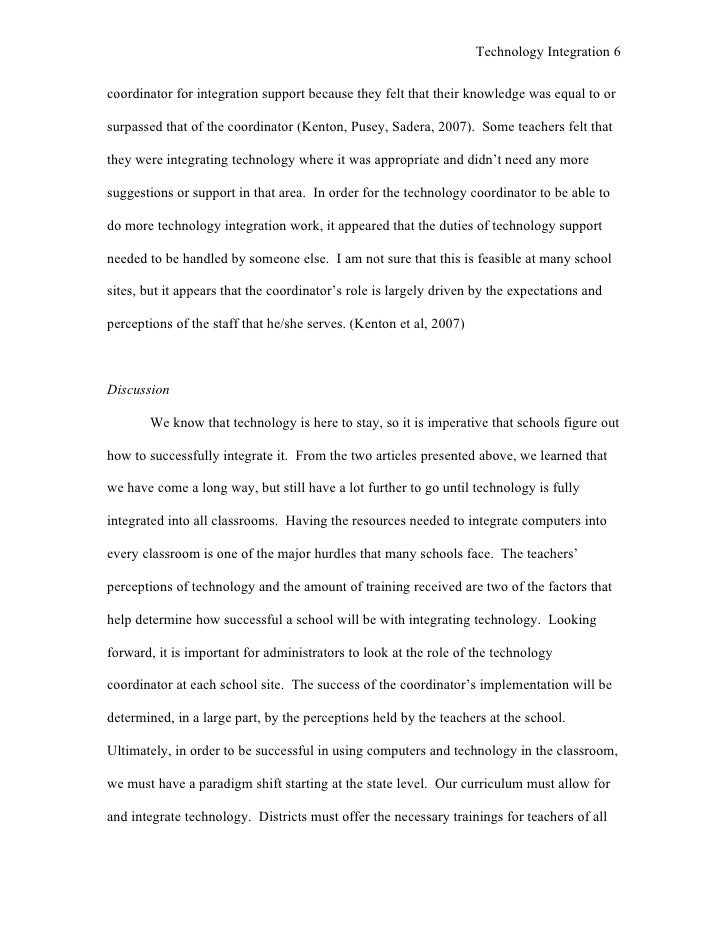 literature review for technology integration
