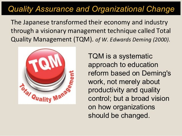 the concept behind total quality management tqm in todays organizations Total quality management (tqm) is a management function that focuses on customers by using all employees in continuous improvement or improvement efforts total quality management or tqm uses effective strategies, data and communications to integrate quality discipline into the corporate culture and activities.
