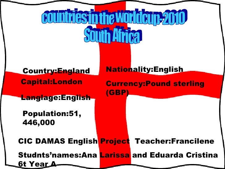 countries in the worldcup-2010 South  Africa Country:England Capital:London Langlage:English Population:51,446,000 Nationa...