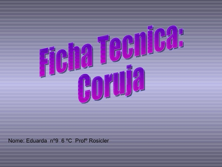 Nome: Eduarda  nº9  6 ºC  Profº Rosicler  Ficha Tecnica: Coruja