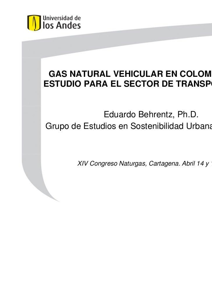 GAS NATURAL VEHICULAR EN COLOMBIA: CASO DE    ESTUDIO PARA EL SECTOR DE TRANSPORTE PÚBLICO                  Eduardo Behren...