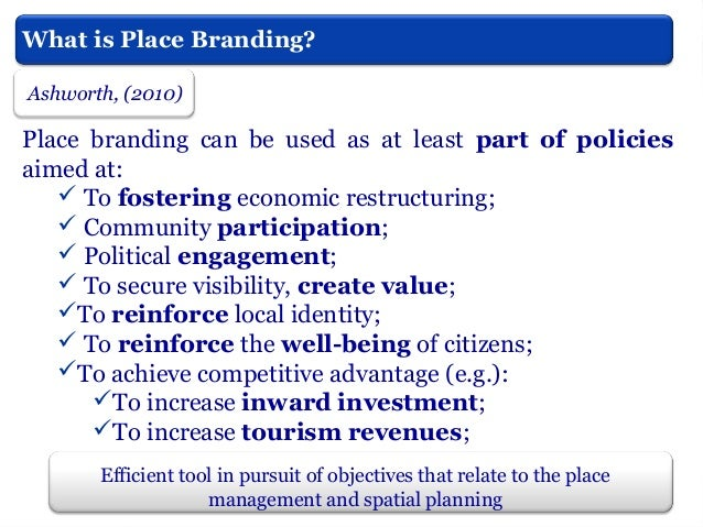 Instruments of Place Branding also applied by cities?  Places organise and sponsor temporary events in order to obtain a w...