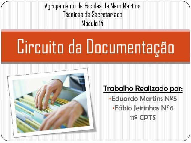 Trabalho Realizado por: •Eduardo Martins Nº5 •Fábio Jeirinhas Nº6 11º CPTS Circuito da Documentação Agrupamento de Escolas...