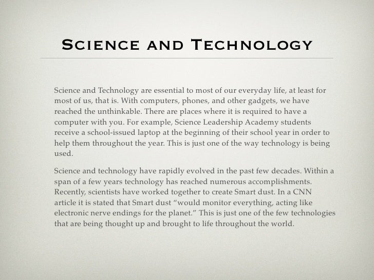 Short essay on science and technology in future
