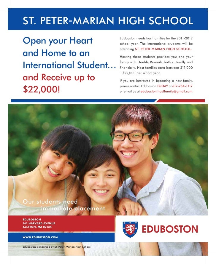 ST. PETER-MARIAN HIGH SCHOOLOpen your Heart                                          Eduboston needs host families for the...